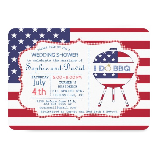 Unique USA flag 4th of July Party I DO BBQ Invite