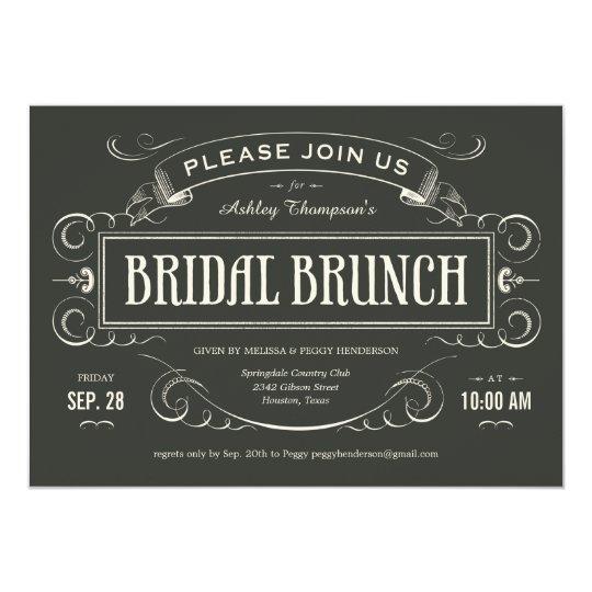 Unique Vintage Bridal Brunch Invitations