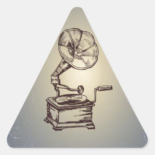 Unique Vintage Phonograph. Retro Style Gramophone Triangle Sticker