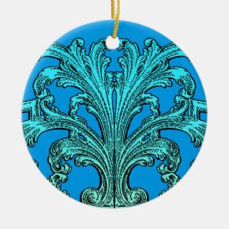 Unique Vintage Swirl Ombre Blue Design Ceramic Ornament