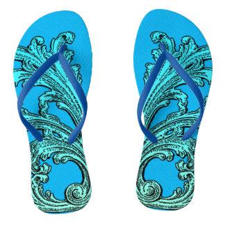 Unique Vintage Swirl Ombre Blue Design Flip Flops