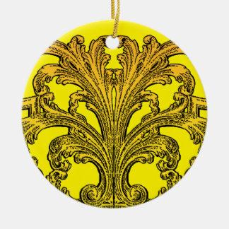 Unique Vintage Swirl Ombre Gold Ceramic Ornament