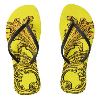 Unique Vintage Swirl Ombre Gold Design Flip Flops