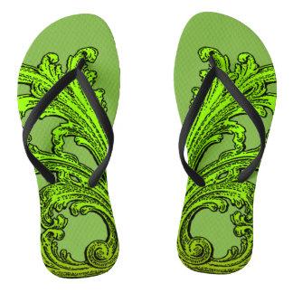 Unique Vintage Swirl Ombre Green Design Flip Flops