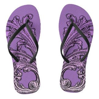 Unique Vintage Swirl Ombre Purple Design Flip Flops