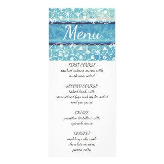 Unique vintage wedding menu with wooden background