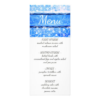 Unique vintage wedding menu with wooden background custom rack card