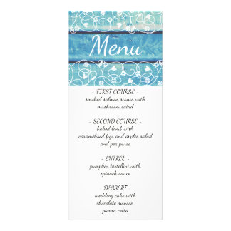 Unique vintage wedding menu with wooden background custom rack cards