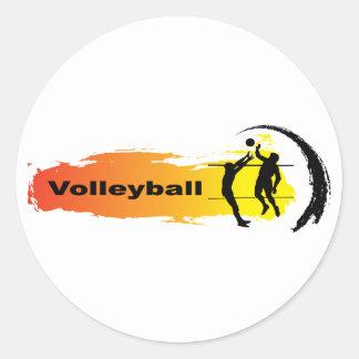 Unique Volleyball Emblem Round Sticker