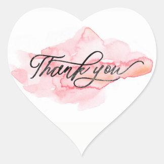 ★ Unique Watercolour Pink Modern Thank You Heart Sticker