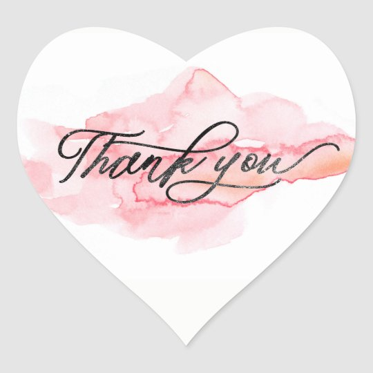 ★ Unique Watercolour Pink Modern Thank You Heart Sticker