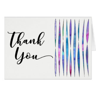 Unique White Purple Pink Blue Watercolor Thank You Card