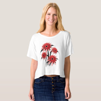 Unique white T-Shirt with Red & Black Flower Power