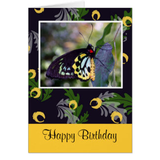Unique Yellow and Black Butterfly Birthday Card