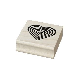 Unique Zebra Striped Heart 2 inch Square Ink Stamp