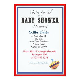 Unisex Baby Shower Invitation Vintage Spinning Top