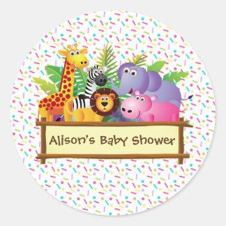 Unisex Baby shower sprinkle jungle safari favor Round Sticker
