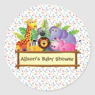 Unisex Baby shower sprinkle jungle safari favour Classic Round Sticker