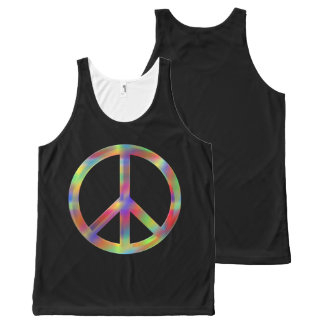 Unisex Black tanktop with psychadelic peace sign. All-Over-Print Tank Top