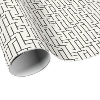 Unisex Black & White Geometric Maze Gift Wrap