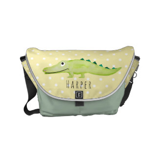 Unisex Crocodile Safari Baby Name Diaper Courier Bag