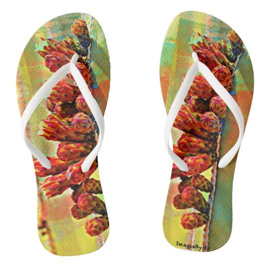 Unisex Flip Flops - Cactus Bloom in Paint