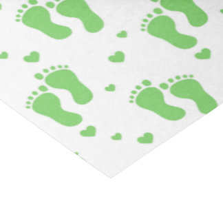 Unisex green baby feet party tissue paper