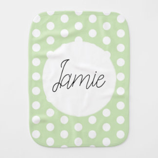 Unisex Green Simple Polka Dot Spotty Pattern Name Burp Cloth