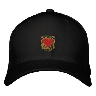 Unisex love heart filigree embroidered cap embroidered baseball cap