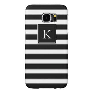 Unisex Monogram Classic Stripes Pattern, Black Samsung Galaxy S6 Case