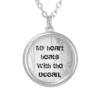Unisex, My Heart Beats with the Ocean, Poem Quote Silver Plated Necklace