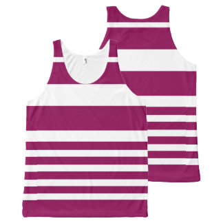 Unisex Nautical Stripe Tank Top - Purple Violet