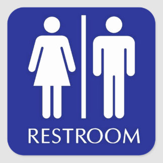 Unisex restroom sign square sticker