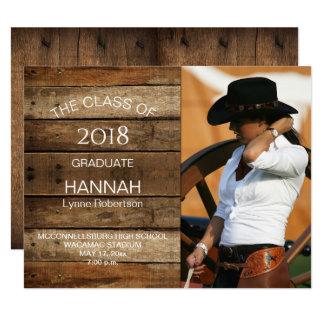Unisex Rustic Barnwood Photo Graduation Horizontal Card