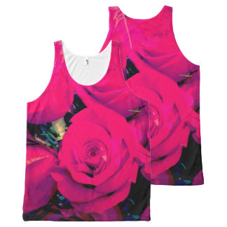 Unisex tank top. Bright pink roses, all-over print