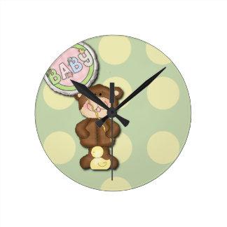 Unisex Teddy Bear Nursery Bedroom Round Clock