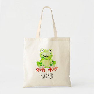 Unisex Watercolor Baby Jungle Frog and Name Tote Bag