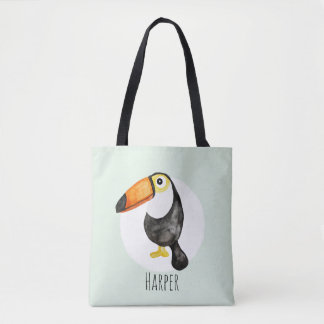 Unisex Watercolor Baby Toucan Jungle with Name Tote Bag