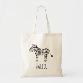 Unisex Watercolor Baby Zebra Safari and Name Tote Bag