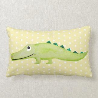 Unisex Watercolor Crocodile Safari Baby Nursery Lumbar Pillow