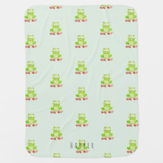 Unisex Watercolor Jungle Frog Pattern Dots Name Baby Blanket