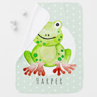 Unisex Watercolor Jungle Frog Safari Dots Name Baby Blanket