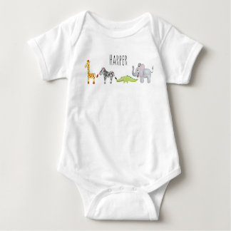 Unisex Watercolor Safari Animal Parade with Name Baby Bodysuit