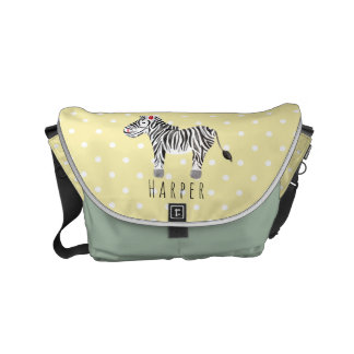 Unisex Watercolor Zebra Safari Dots Name Diaper Courier Bag