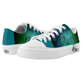 Unisex White Sneakers with Green Digital Creature