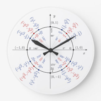 Unit Circle Math Geek Funny Nerd Student Large Clock