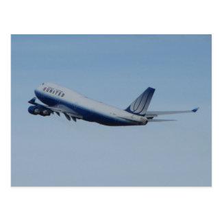 United 747 Taking Off Postcard