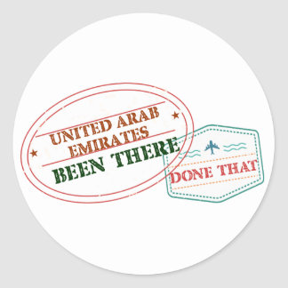 United Arab Emirates Been There Done That Classic Round Sticker