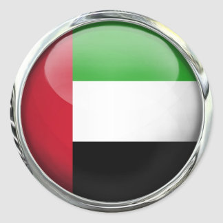 United Arab Emirates Flag Glass Ball Round Sticker