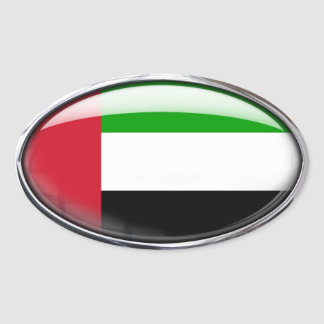 United Arab Emirates Flag Glass Oval Oval Sticker
